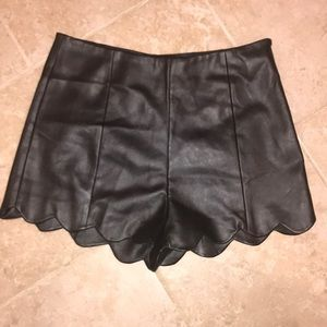 Ark & Co. Vegan Leather Scallop Hem Shorts